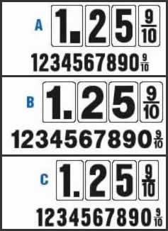 Gas Station Numbers Styles A, B, C
